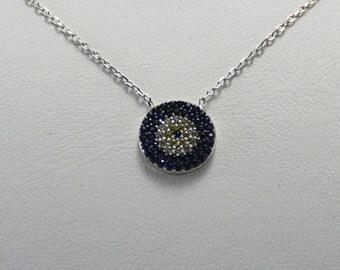 925 Sterling silver Evil Eye Necklace,Silver evil eye Jewelry,evil eye pendant,CZ evil eye,Good Luck charm,