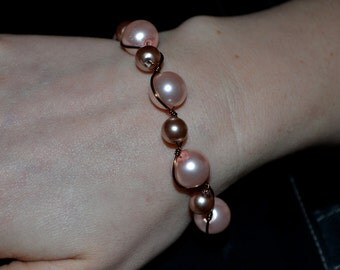 Pink & Taupe Antique Brass Pearl Bracelet