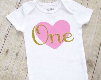 first birthday shirt - pink and gold glitter birthday romper - 1st birthday shirt with heart - one year old birthday - one baby shirt