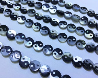 5pcs Mother Of Pearl Ying Yang Beads , 8mm Wholesale Mother Of Pearl Beads For Jewelry Making