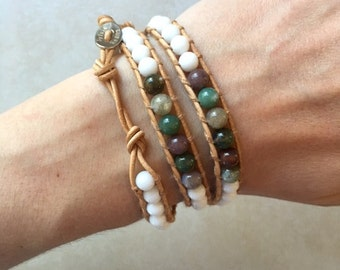 White with Accented Multi colored Beaded Wrap Bracelets