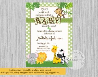 baby safari jungle animals baby shower invitations jungle baby shower invitations green polka dots