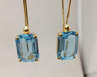Venetian Blue Glass Earrings Vintage