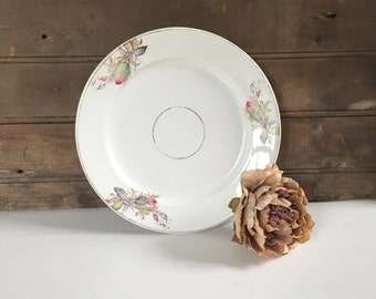 4 Antique Ironstone Plates, Floral, Dishes, Country Decor, Cottage Chic