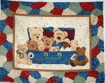 """Everyday bears Quilt Top 100% cotton 43"""" wide fabric by the panel,a216"""