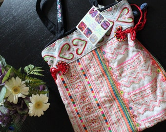 Stand out from the crowd! Vintage Lao Fabric Large Bag