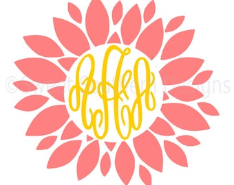 Dahlia monogram flower SVG instant download design for cricut or silhouette