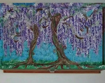 Wisteria trees, nature, jewelry box, gift for her