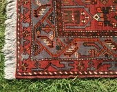 "Persian Hand-Knotted Mosel Rug (Terracotta, Blue, Black, Red, Brown) 230cm x 149cm (7'5"" x 4'9"")"