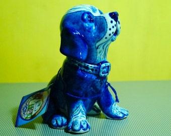 Gzhel Porcelain puppy Dog Figurine colors handmade