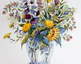 Bouquet with dandelions and berries