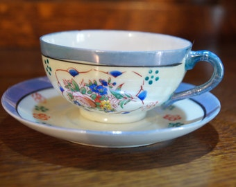 Miniature Chinese Hand-Painted Cup and Saucer
