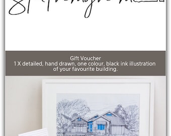 Gift Voucher for 1 x detailed, one colour highlight, hand drawn, black ink illustration of your favourite building.