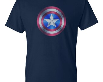 Captain America Short Sleeve T-Shirt (Sizes S-4XL) Navy Color