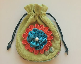 3D Orange and Teal Flower Jewelry/Makeup/Accessories Pouch