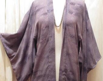 70s Vintage Purple Flower Print Kimono