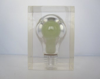 Pierre Giraudon rare inclusion in resin with fluorescent bulb 1970/ French Pop Art Lucite Light Bulb Sculpture/ Paperweight