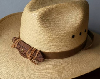 Tooled leather hat band