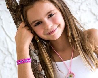 Girls Beaded Bracelet - Pink
