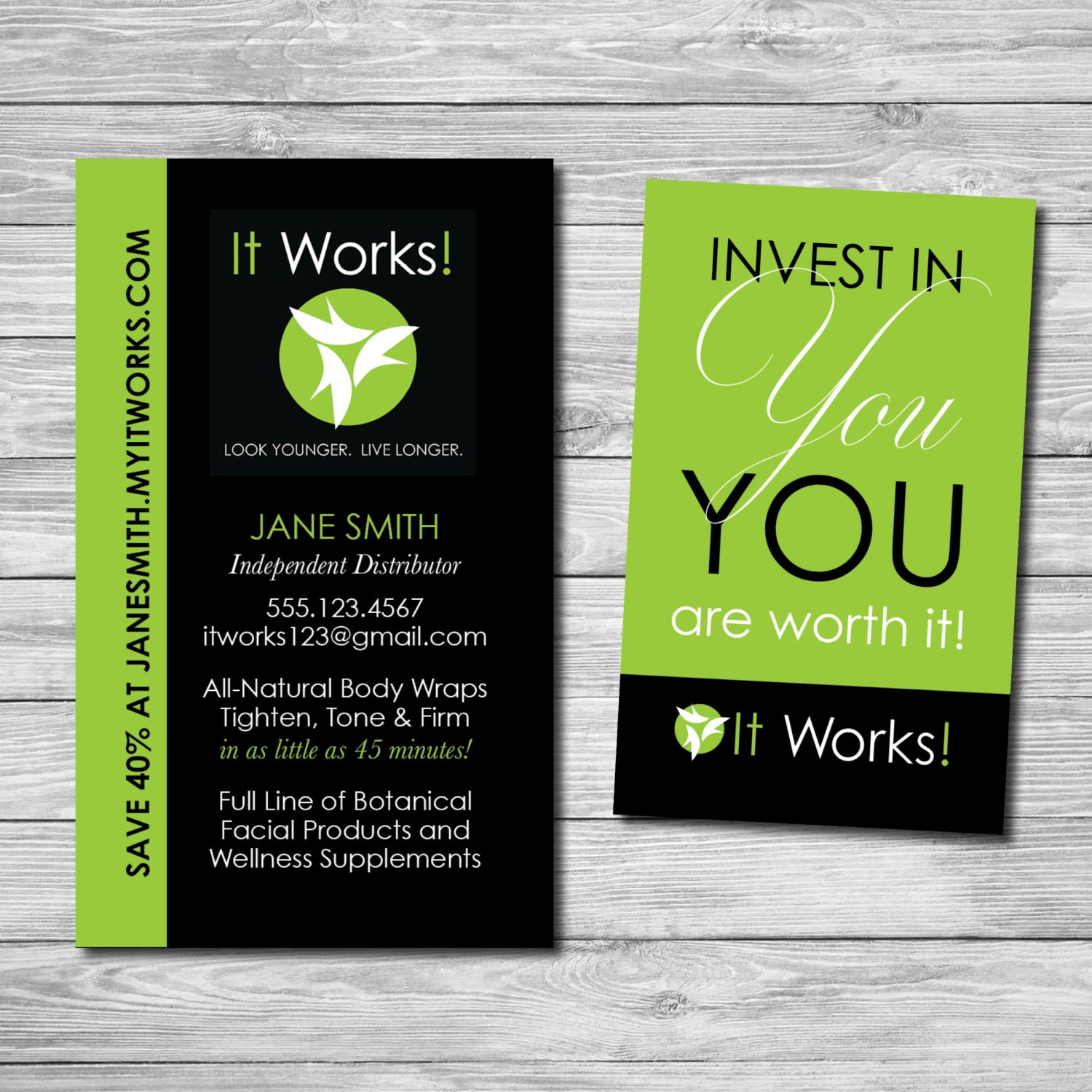 Customized It Works Business Cards Printable by