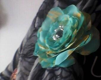 Flower Brooch, Turquoise, Fabric Organza, Handmade, Gift