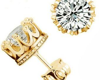 Gold 'Royal Crown'  CZ Earrings