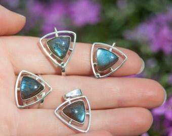 Labradorite Jewelry, Labradorite Earrings, Labradorite Ring, Pendant, Labradorite Silver set, Natural Blue Labradorite, Separate Sale Items