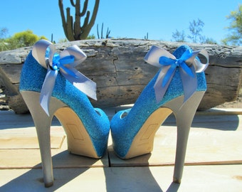 Blue glitter with silver heel and bows