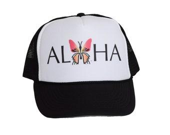 Hawaiian Trucker Hat// Black Mesh// Butterfly// Aloha// Logo// Oahu// Activewear// Unique Gift//