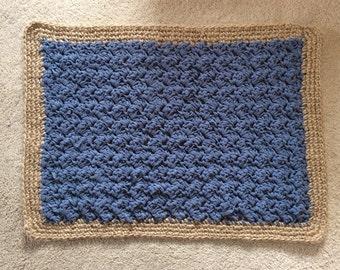 Crochet Blue Door Mat / Rug