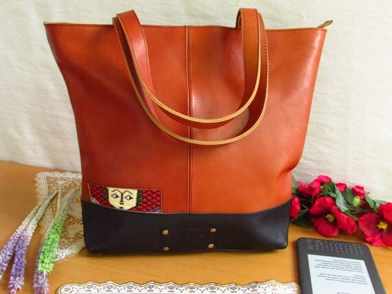 Women leather Tote, brown shoulder bag, leather purse, large tote, brown pull up leather, women tote, lady's leather bag