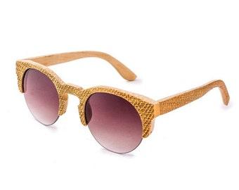 Bamboo Wood Sunglasses Half Frame - Ziba Wood Sunglasses: Ivy