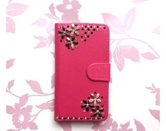 Pink Synthetic Leather Wallet Samsung Galaxy Case (various models) With Swarovski Crystal & Rhinestone Flower Design