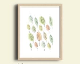 Printable art, leaf art,  leaf wall decor, graphic print,pastel colors, leaves wall art, MInimalist poster, abstract, digital print, 8X10