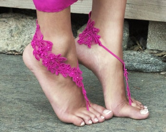 Magenta Barefoot Lace Sandals LAUREN Lacy Shoes Bare Feet Destination Wedding Bellydance Festival Fuschia Hot Pink Cute Bridal Party Gifts
