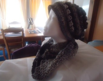 Handmade crocheted multi color hat and scarf set