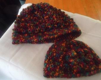 Handmade crocheted burgundy and multi hat set