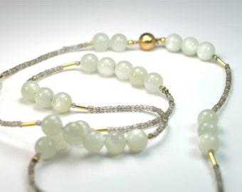 Chain Moonstone 750 gold smoky quartz unique designer jewellery hand made in Germany