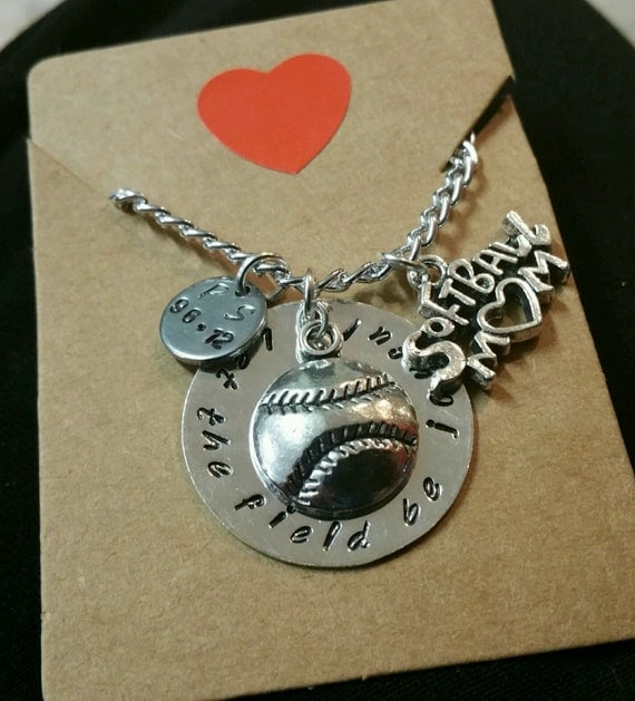 Softball or Baseball Mom Hand Stamped Necklace