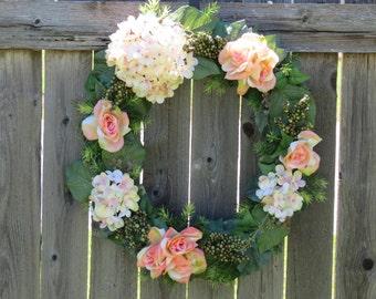 Hydrangea Wreath, Rose Wreath, Everyday Wreath, Spring Wreath, Summer Wreath, Front Door Wreath, Home Decor, summer door wreath