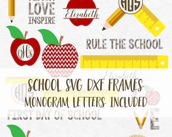 Back to School Svg Teacher Svg Apple Svg Pencil Svg School bus svg kindergarten svg Monogram Svg  first day of school svg monogram frames