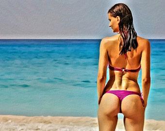 Bikini Beach Bum Purple - Print or Canvas