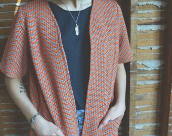 1960s Striped Short Sleeve Jacket/Blazer