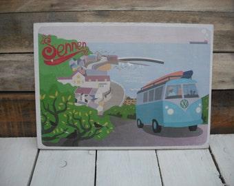A4 wood print : Sennen Camper and  Sennen Cove.