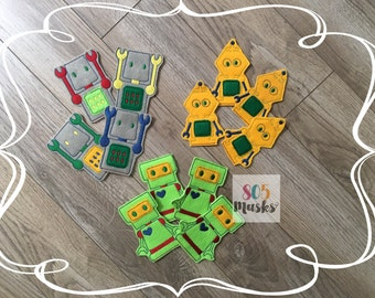 Robot birthday favors, Robot birthday party, Robot finger puppets, Robot pencil toppers, Robot birthday, Robot toy, Robot party pack, Robot