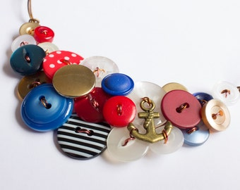 Sailor Button Necklace, Upcycled & Vintage