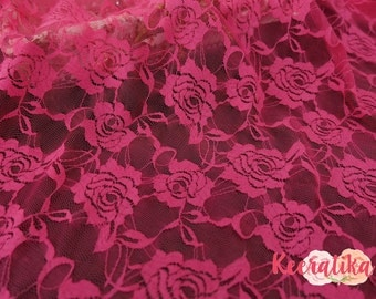 Hot Pink Lace Fabric Hot Pink Lace For Handmade Floral Lace Wedding Roses Lace Bridesmaid Lace Hot Pink Lace For Making Dress