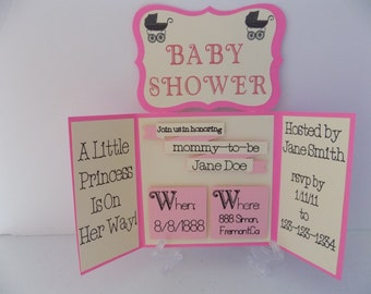 Tri fold Baby Shower or Wedding Invitation