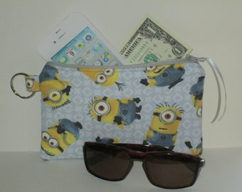 Handmade Zipper Purse Wallet iPhone Case Pouch Makeup Bag Minions Nice Gift