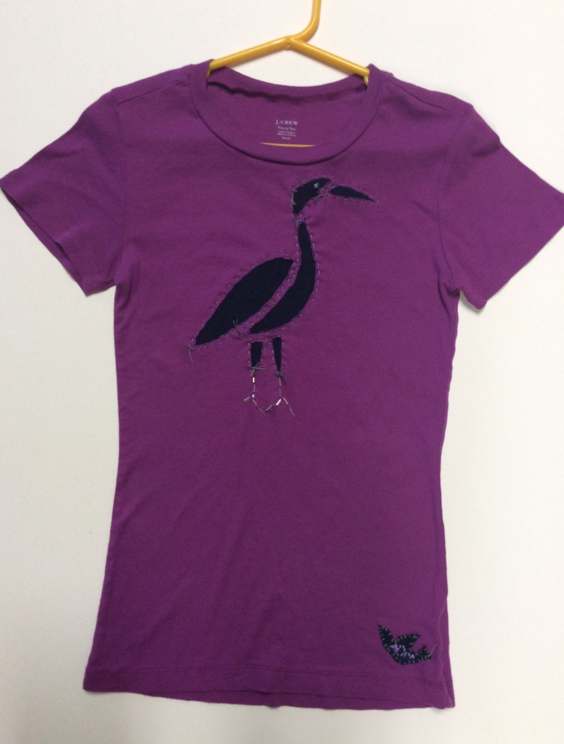 Upcycled T Shirt With Reverse Applique Heron Design